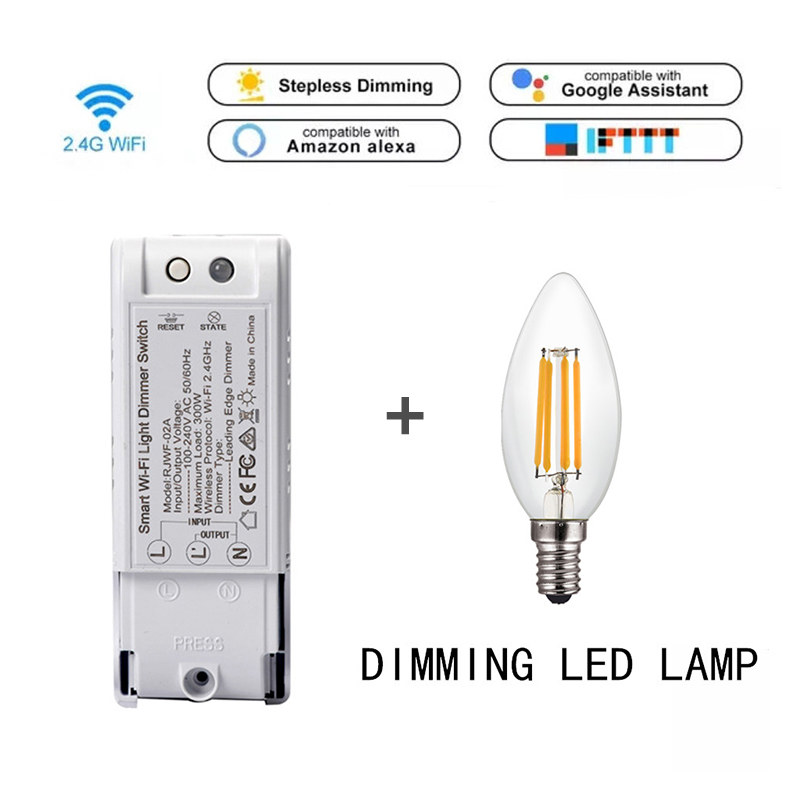 Smart home Dimmer Switch Module Controller + E27 Bulb for Alexa Google home Wifi/Voice Control Automation kit 110 240V Smartlife