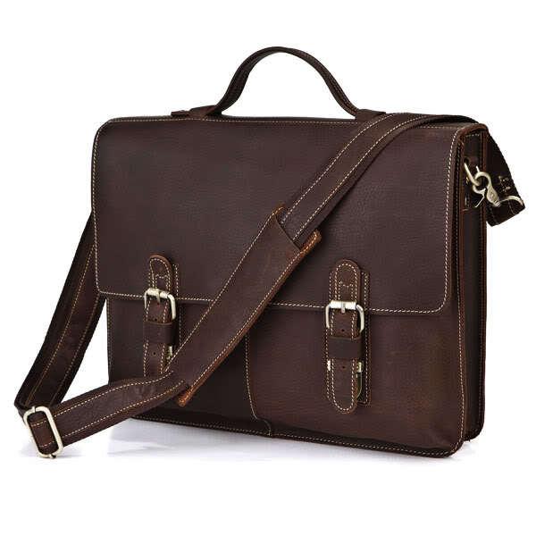 Nesitu High Quality Vintage 100% Real Skin Brown Genuine Leather 14''Laptop Office Men Briefcase Messenger Bags Portfolio M7090
