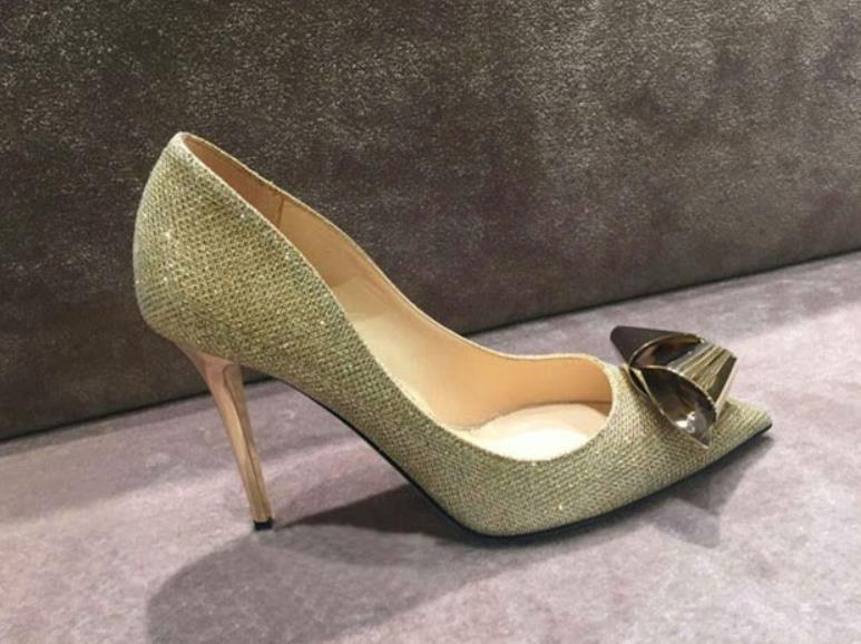 Niedrigen Frühling Heels Blau gold Schuhe Metall Sommer Und High Absätzen Pailletten Mode qrwTtR6r