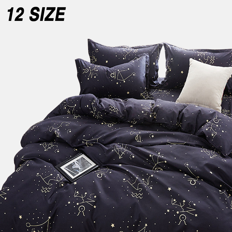 Duvet-Cover-Set Soft-Sheet-Set Bed Linen Star King-Queen-Size Custom Black Single USA title=