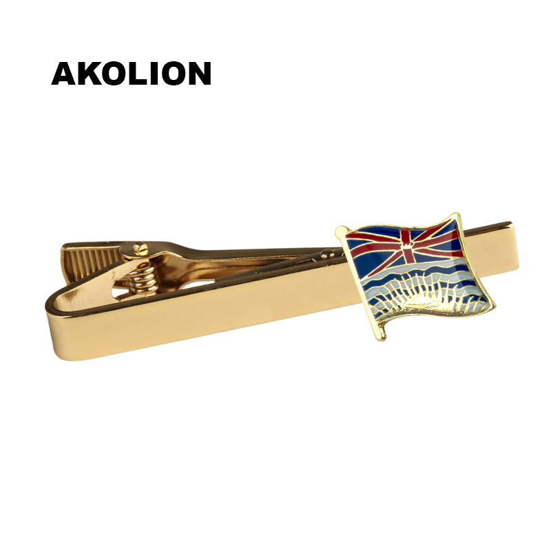 Classic Metal Tie Clip BRITISH COLUMBIA Nation Flag Tie Bar Gold Tie Pin For Formal Dress Shirt Ceremony Tie KS-0219