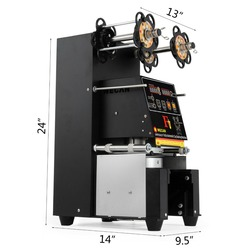 VEVOR Fully Automatic Sealing 500~650 H Cup Machine Digital Control LCD Panel for Bubble Milk Tea Coffee Smoothi