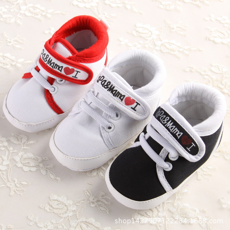 e98d98e9405f5 New Baby Boys Girls Love Mama   Papa Infant Toddler Soft Soled Sneakers  Prewalkers Newborn Kids Leisure Casual First Walkers free shipping worldwide