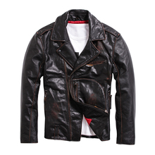 Men's leather jackets 2017 vigate Do the old Thicken Locomotive Cowhide Jacket Lapel Diagonal zipper
