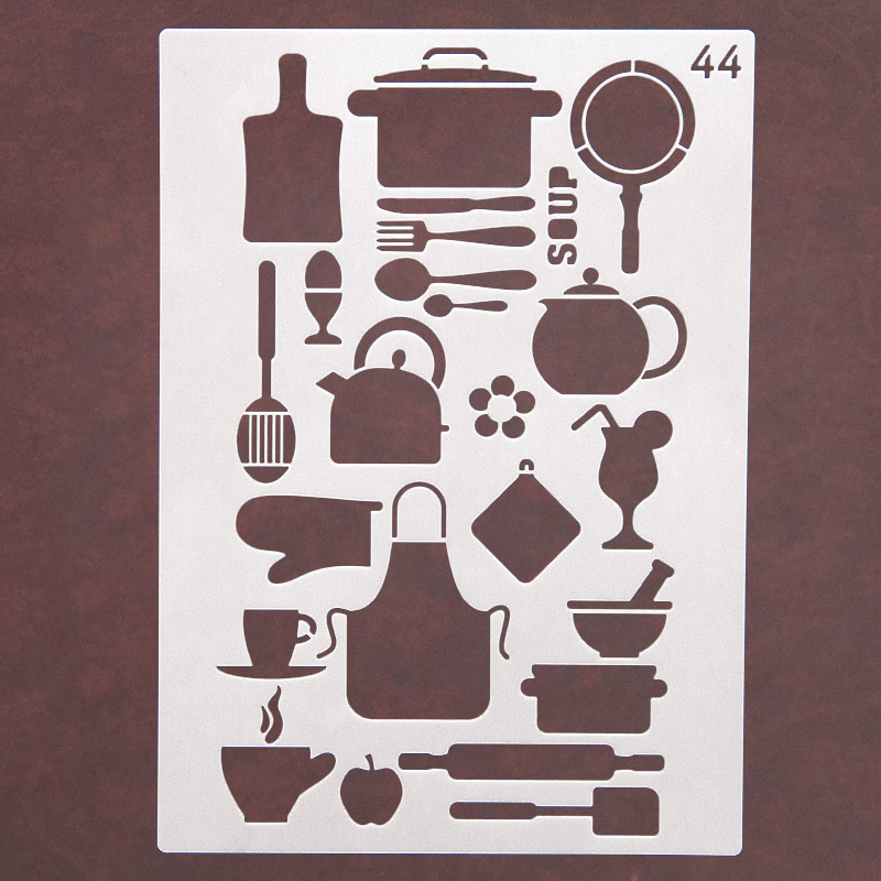 Kitchen Cooking Utensils Tableware Stencils for Diy Scrapbooking Stamps Home Decor Paper Card Decoration Template Album Crafts in Stamps from Home Garden