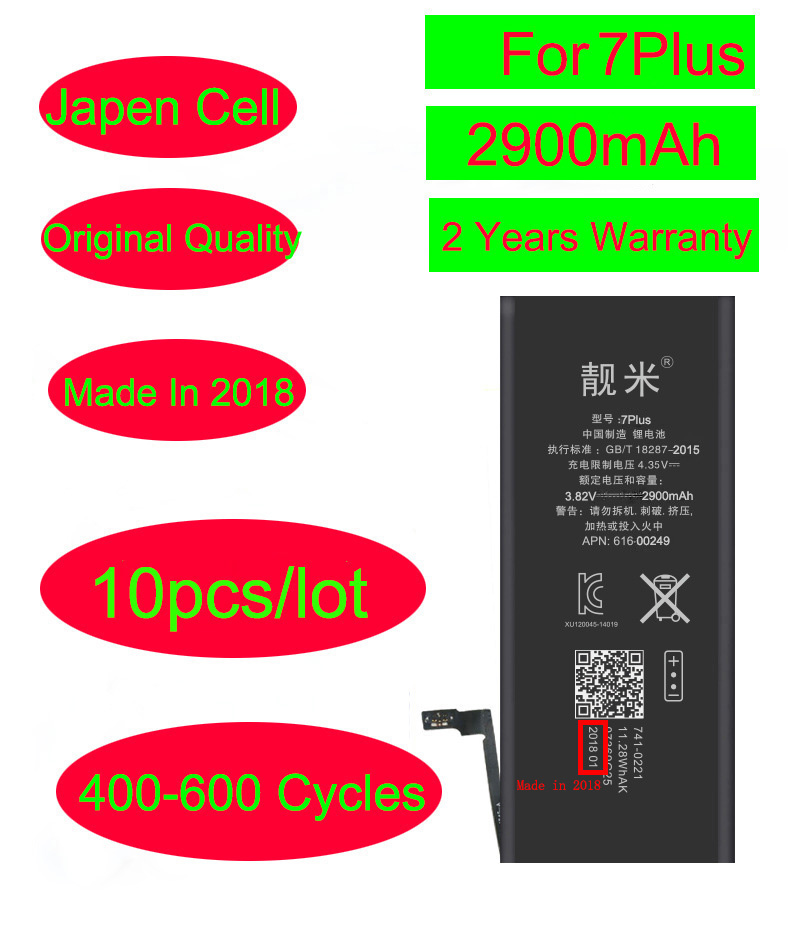 10pcs/lot Mobile Phone 7Plus Battery for Iphone 7Plus 7P 5.5'' Li-ion Inner Full Capacity Built 2900mAh 3.82V Battery