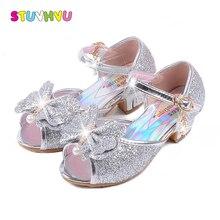 Girls high heel sandals Blue Crystal Princess Kids Sandals 3 4 5 6 7 8 9 10 11 12 years old Summer Girls Sandal Pink Gold Silver цены