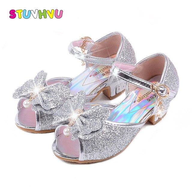 9201e85ad7a1e Girls high heel sandals Blue Crystal Princess Kids Sandals 3 4 5 6 7 8 9 10  11 12 years old Summer Girls Sandal Pink Gold Silver