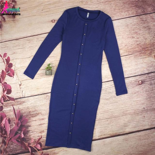 Gagaopt 2017 Autumn Dress Knitted Dresses Knee-Length Long Sleeve Blue Long Dresses Slim Winter Office Dress Robes Vestidos