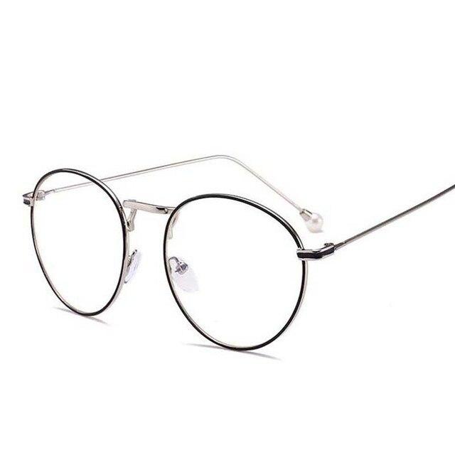 Diopter SPH 0 -0.5 -1 -1.5 -2 -2.5 -3 -3.5 -4 -4.5 -5 -5.5 -6.0 Women Round Metal Frame Fashion Pearl Eyewear Myopia Glasses