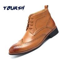 TOURSH İngiliz Tarzı Erkekler Ayakkabı Sonbahar Kış Erkekler Boots Ayak Bileği Boots Erkekler 'S Motosiklet Martin Boots Erkekler Oxfords Brogue Boyutu 38-43