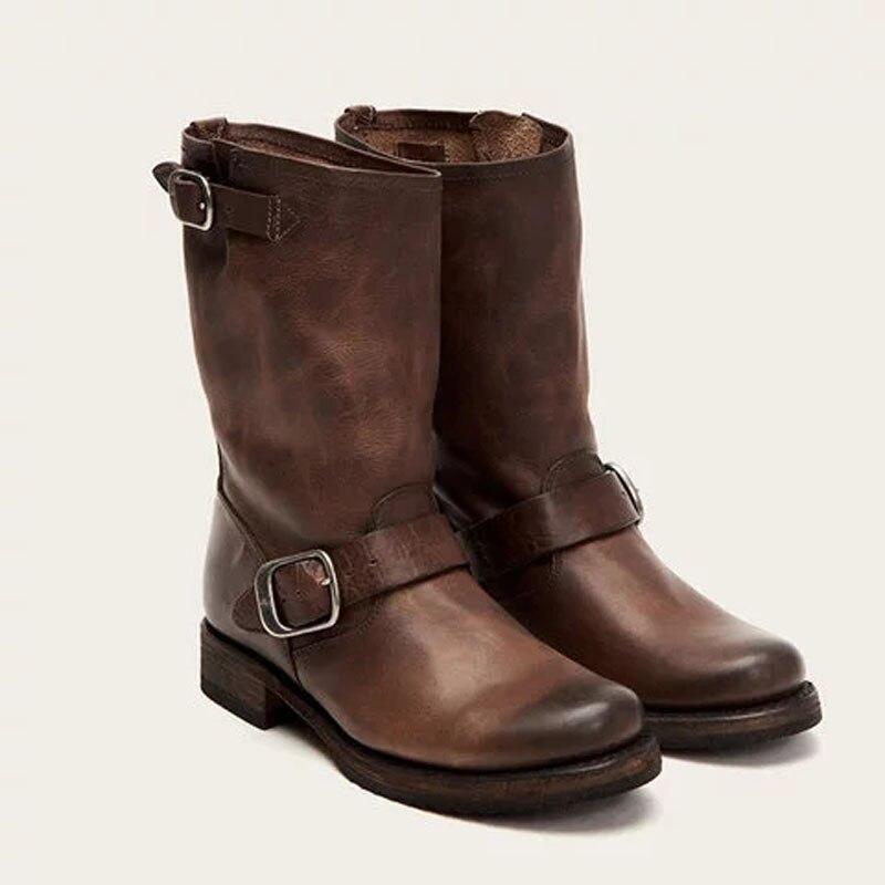 Initiative Tangnest Vintage Frauen Stiefel Niedrigen Absätzen Schnalle Cowboy Mid-kalb Stiefel Mode Lässig Plattform Schuhe Plus Größe 35-43 Xwx7274 Frauen Schuhe Damenstiefel