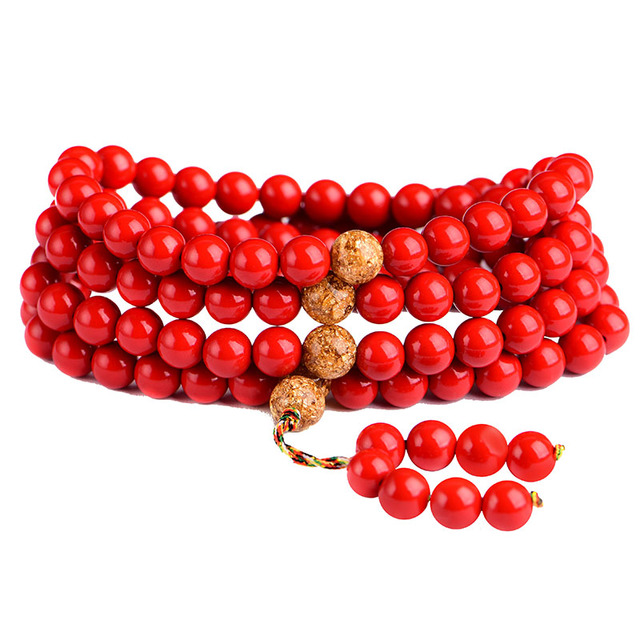 Natural Cinnabar Prayer Beads Tibetan Buddhist Buddha Bracelet 108pcs Rosary Necklace Woman red Lucky Bangle Jewelry
