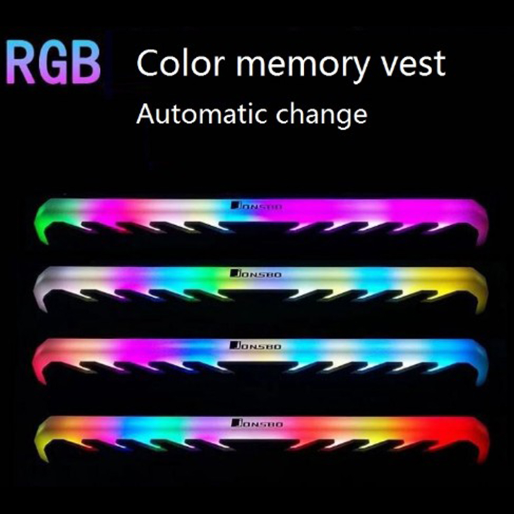 Image 2 - 2pcs/lot Desktop Memory Heatsink Cooler Shell RGB 256 Color Automatic Change Aluminum Heat Sink RAM Cooling Vest-in Fans & Cooling from Computer & Office