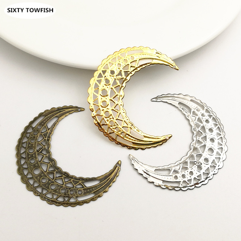 20 Pcs/lot 39x44mm Gold Color/White K/Antique Bronze Metal Filigree Moon Slice Charms Base Settings Jewelry DIY Components