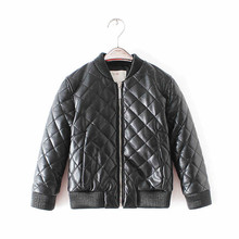 Фотография jacket for girls 2016 winter brand designer boys and girls leather jacket coats children toddler coat for kids baby clothes