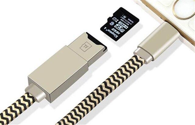 Внешнего U Диск Данных Зарядный Кабель Серебро 2-в-1 TF Micro SD кард-ридер + кабель для зарядки для Iphone 5 6 6 plus 7 плюс