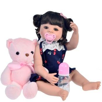 55cm Full Silicone corpo Reborn Baby Doll Toy For Girl Vinyl Newborn Princess bb doll Bebes reborn Bathe Toys Birthday Gift