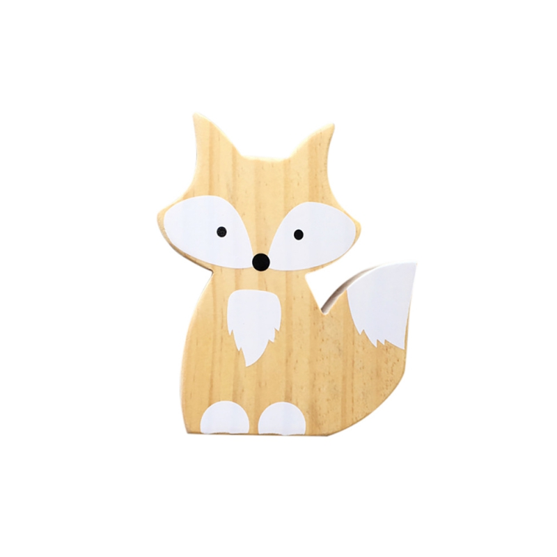 Cute Fox Wall Cartoon Ornaments For Kids Room Cartoon Nursery Home Children Room Decoration Stickers Posters Wood Wall Decor(China)