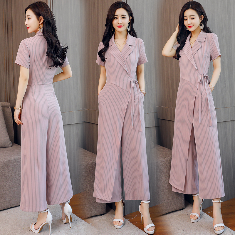 Women Jumpsuits 2019 new Summer office lady elegant striped short sleeve long Rompers