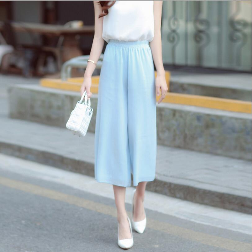 2019 Summer Women Chiffon   Pants     Capris   High Waist Pleated   Pants   Fashion Female Elegant Casual   Pants   Women LY165