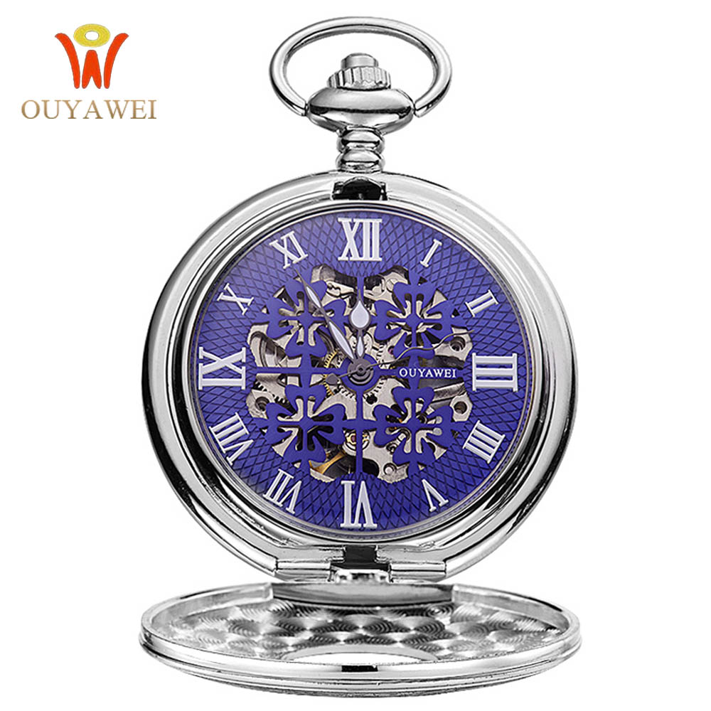 OUYAWEI Pocket Mechanical Watch Men Steampunk Vintage Pendant Watch Necklace Chain Antique Fob Watches Relogio bolso Hand Wind luxury antique skeleton cooper mechanical automatic pocket watch men women chic gift with chain relogio de bolso