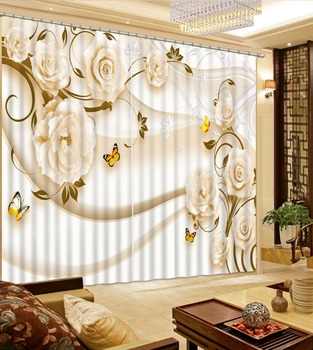 Living Room or Hotel Cortians Window Curtains 3D Tridimensional Scenery Printing White Flower Butterfly Pattern 3D Curtain
