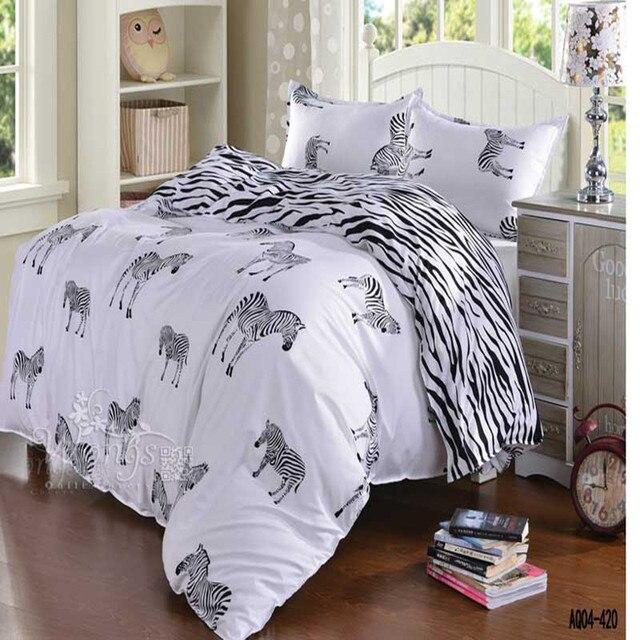 91edfc1755 Preto e branco zebra jogo de cama de casal queen size de solteiro completo  tamanho da