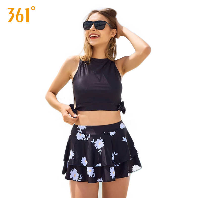 2c57fbc8c2945 361 Sexy High Waist Two-Piece Swimsuit Lady Skirted Swimming Suit Push Up  Tankini for