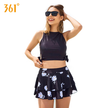 цена 361 Sexy High Waist Two-Piece Swimsuit Lady Skirted Swimming Suit Push Up Tankini for Women Blue Black Floral Print Bathing Suit онлайн в 2017 году