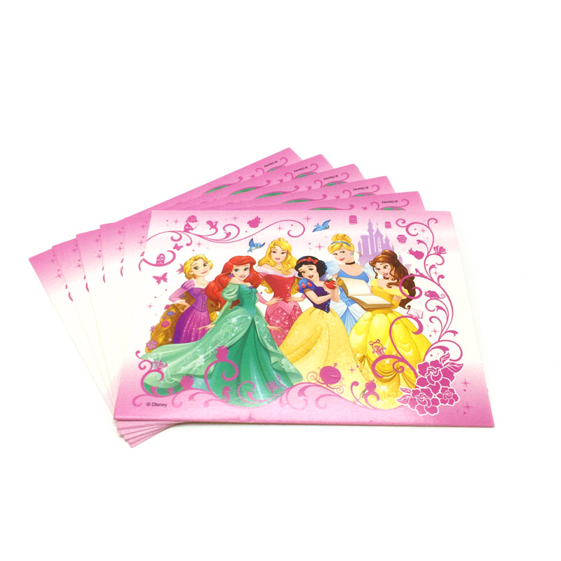 disney six princess theme 6pcs thank you card mini greeting card for birthday party baby shower