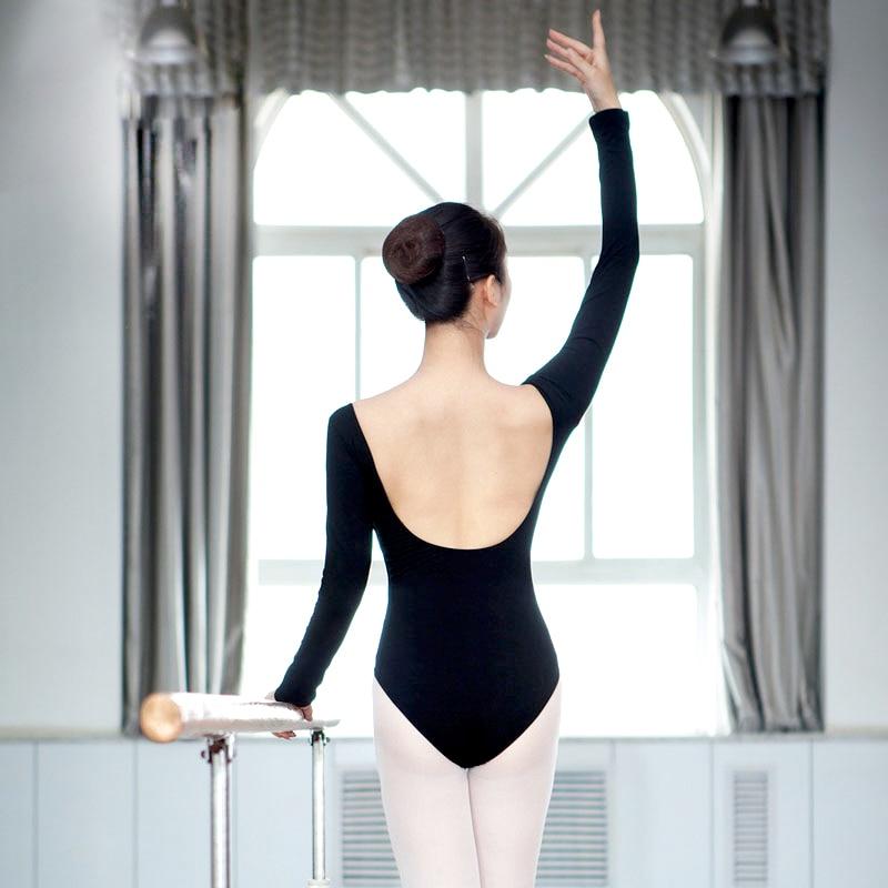 Vente chaude Sexy Ballet femmes justaucorps haut de danse adultes noir violet manches longues gymnastique pratique vêtements danse porter