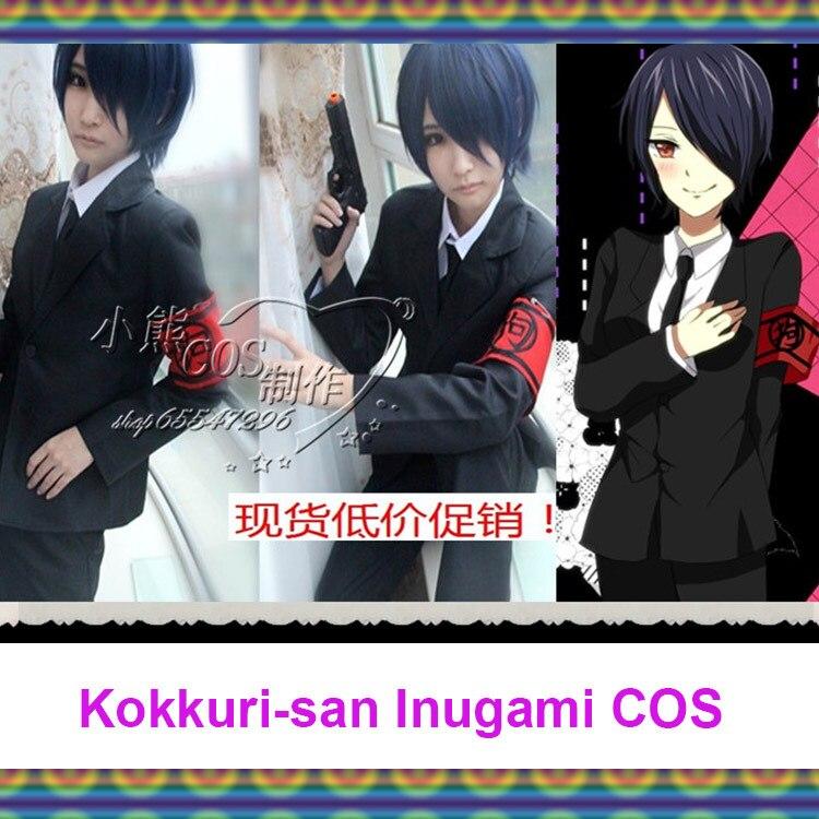 Vente chaude dessin animé japonais kokkuri-san Cosplay Inugami COS Costumes pour hommes/femmes manteau + chemise + pantalon + cravate + brassard