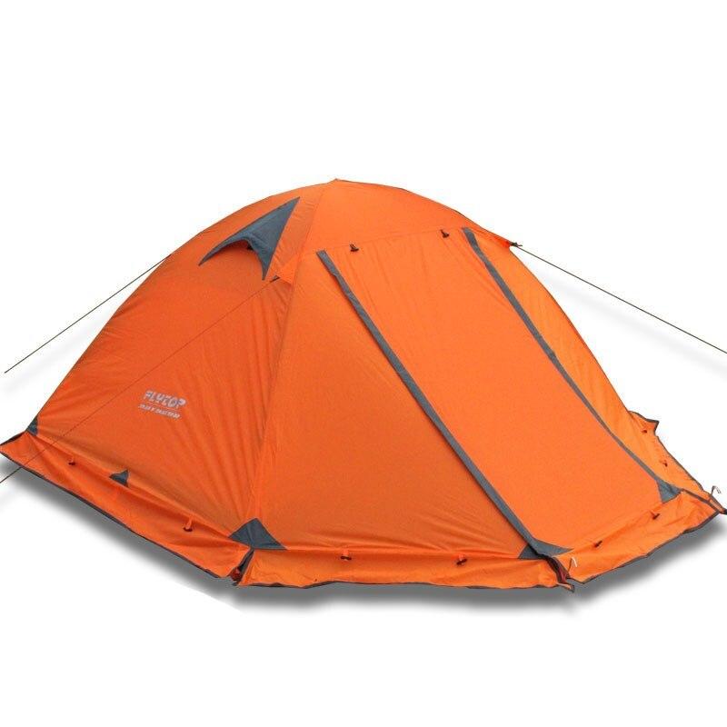 Hiver tente avec jupe pare-neige! 2-3persons mât en aluminium à double couche double porte coupe-vent grande pluie preuve professionnel camping tente