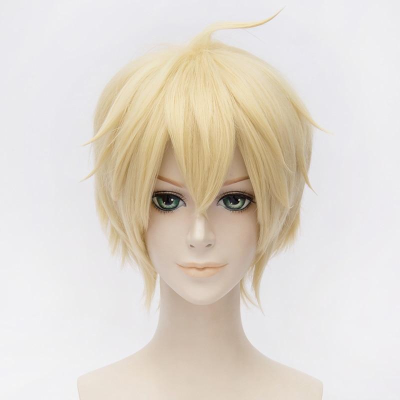 Anime Seraph of the End Mikaela Hyakuya Wig Cosplay Costume Men & Women Short Yellow Hair Halloween Party Wigs