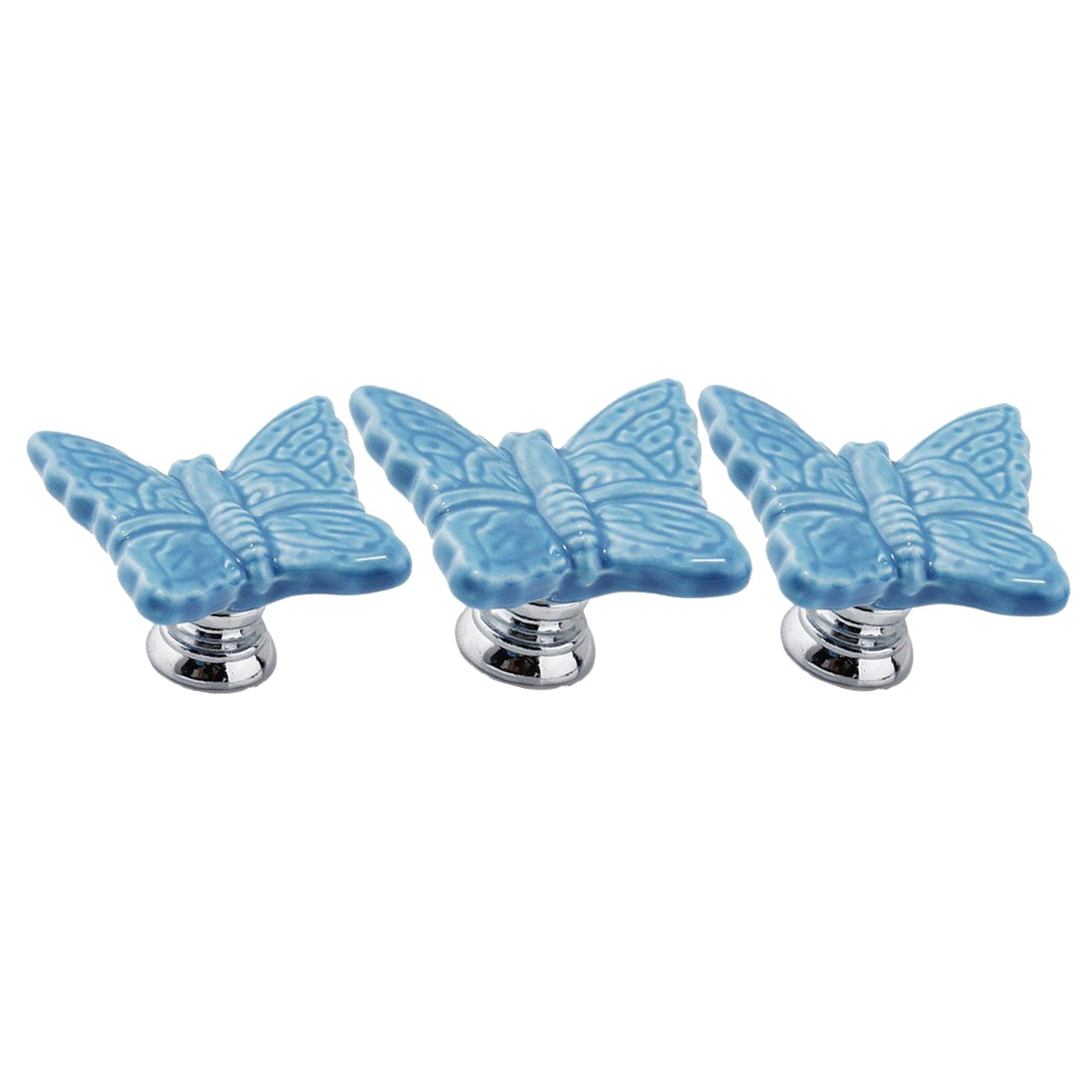 5PCS Blue Ceramic Butterfly Cabinet Knobs,Drawer Pulls Handles Set,Ceramic Butterfly Shape Knobs for Door Dresser Drawer children room conch shape ceramic drawer cabinet wardrobe pulls knobs blue white office furniture handles