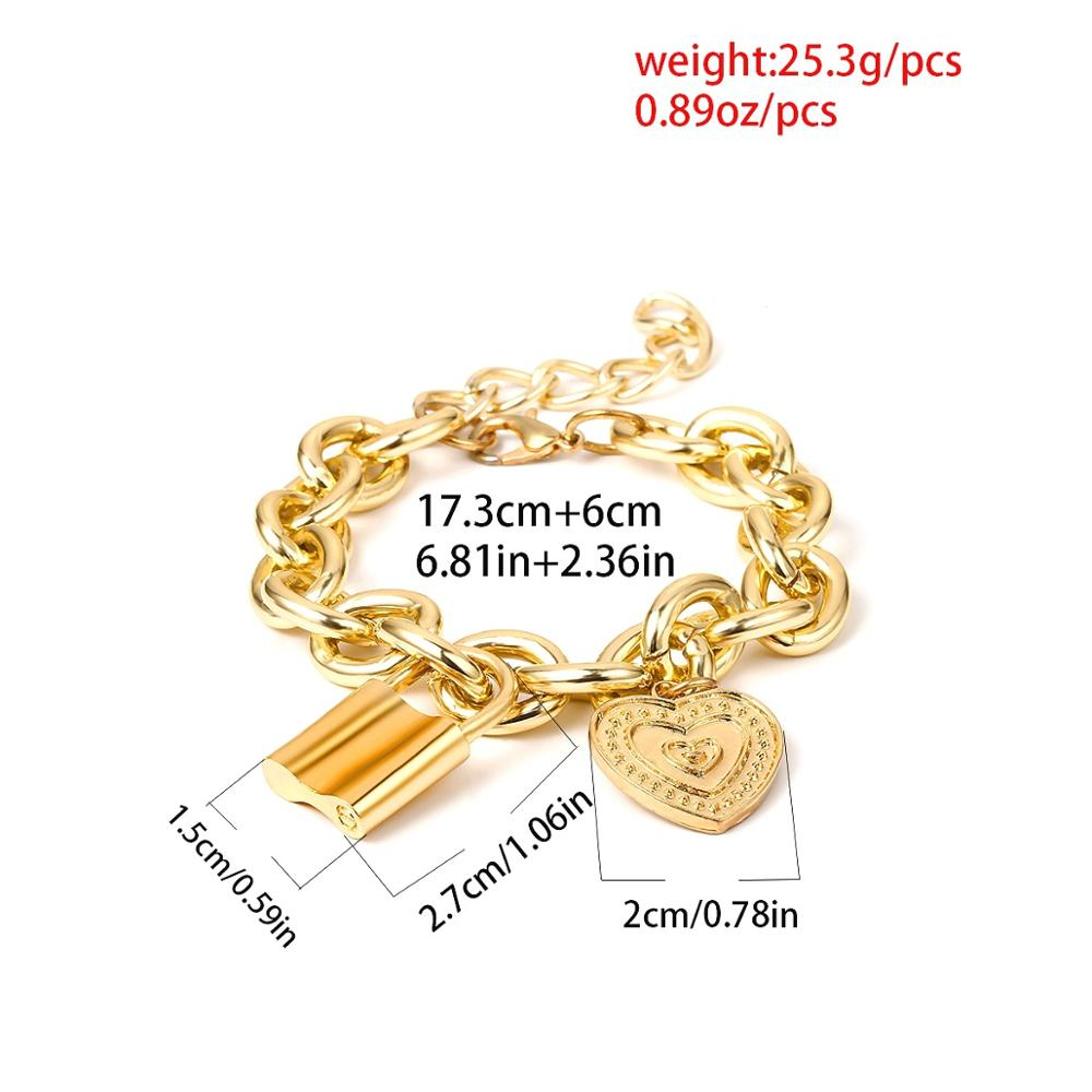 2019 New Punk Lover 39 s Lock Pendant Bracelets Bangles Fashion Alloy Carved Love Heart Thick Chain Bracelet Couple Jewelry in Chain amp Link Bracelets from Jewelry amp Accessories