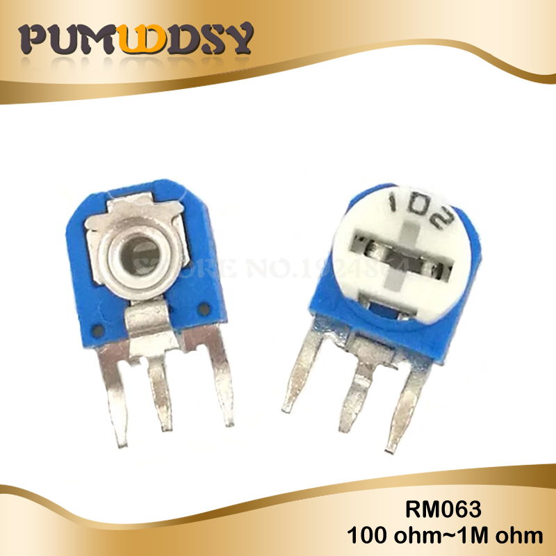 20PCS RM063 1Kohm 2Kohm 5Kohm 10Kohm 20K 50K 100ohm 200ohm 500ohm 1Mohm Blue And White Can Be Adjusted Resistance Potentiometer