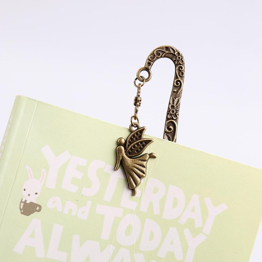 1PC Retro Alloy Metal Bookmark Mermaid Beaded Or Genius Butterfly Fashion Vintage Bookmark