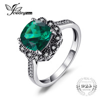 JewelryPalace Vintage 2 2ct Square Created Nano Russian Emerald Promise Anniversary Ring 925 Sterling Silver Jewelry