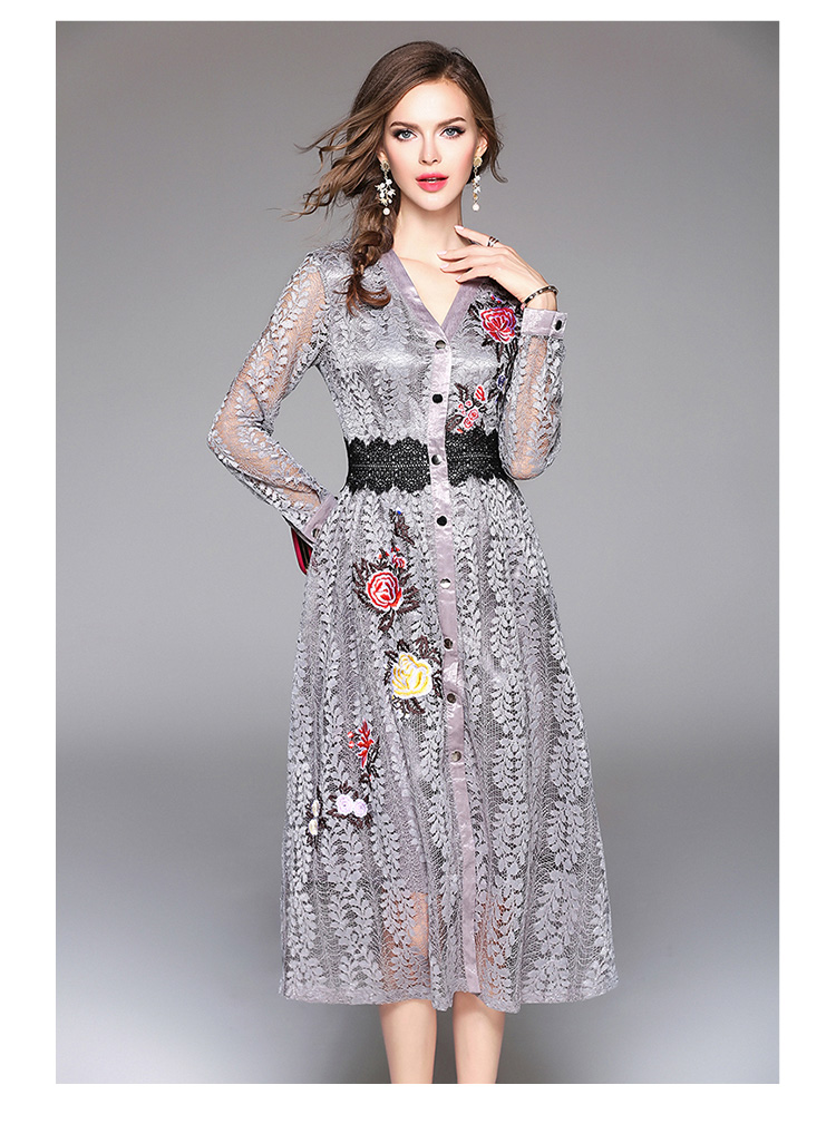 Sky Blue V-neck Floral Embroidered Lace Dress Autumn Dresses Women 2018 Vestido De Festa Hollow Out Christmas Dress K945180 13