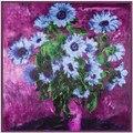 90 см * 90 см весна Масло подсолнечное хризантемы печати леди квадратные шарфы для девочек зимний шарф фиолетовый платки, палантины A327