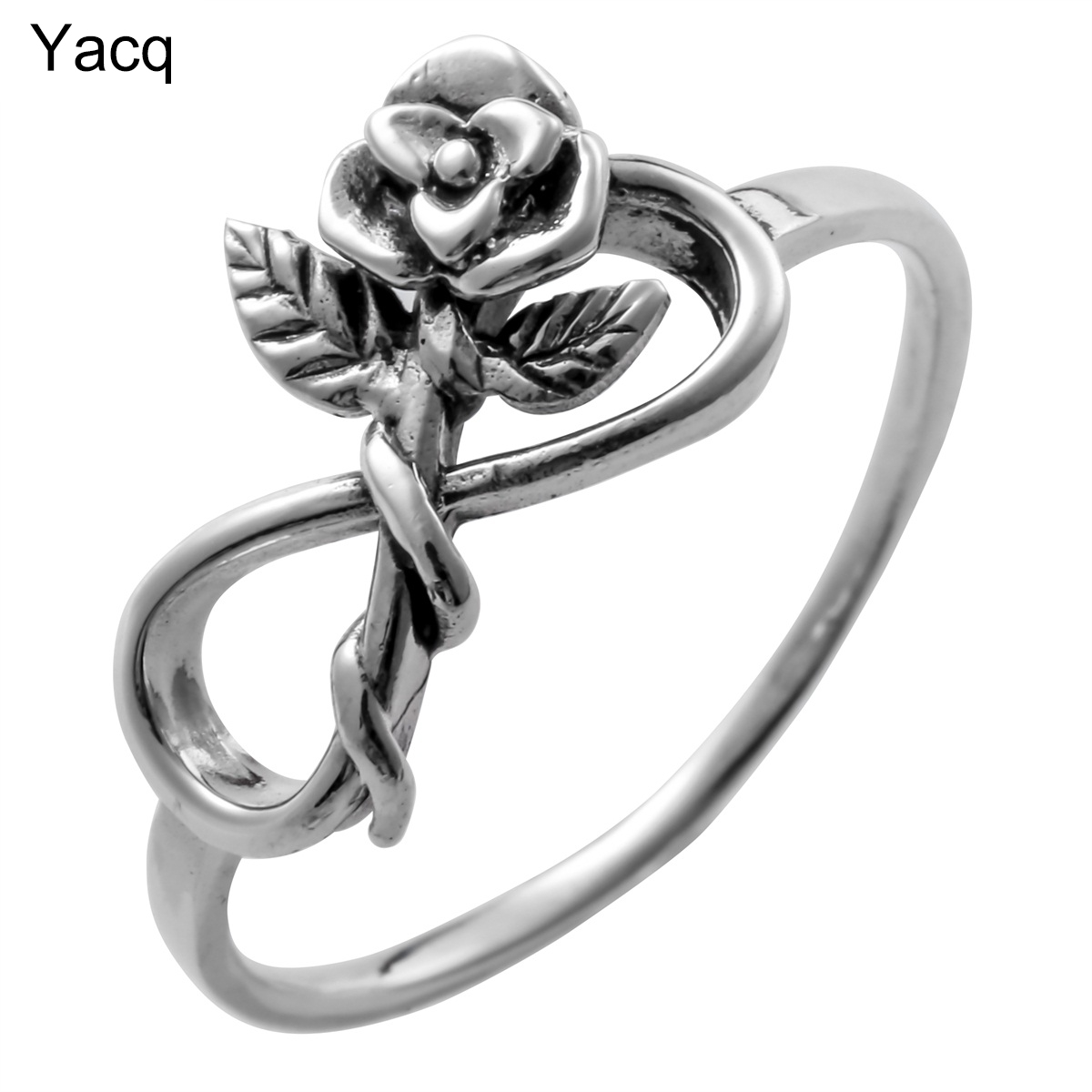 YACQ 925 Sterling Silver Flower Leaf Ring Birthday Party Jewelry Gifts For Women Girlfriend Her