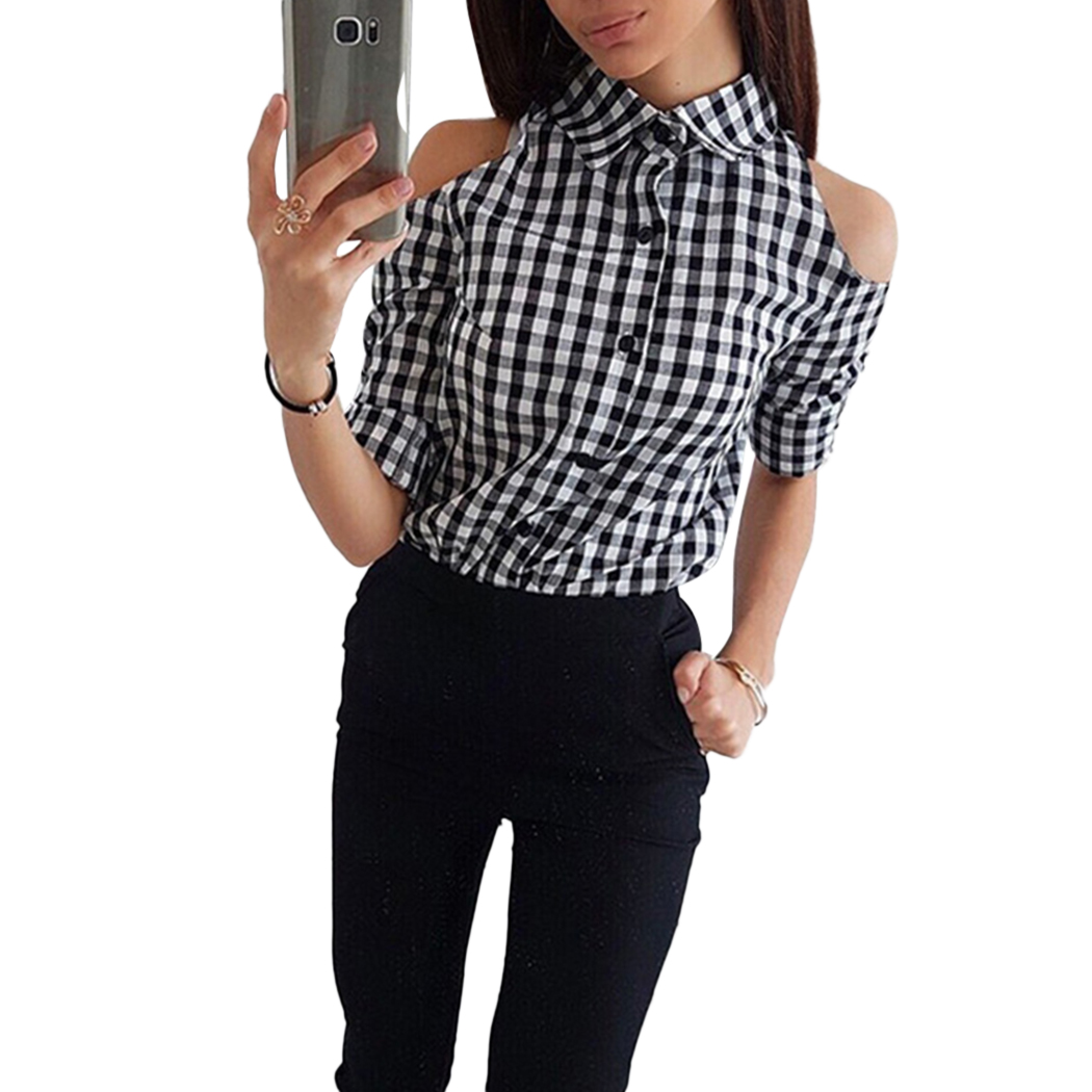Autumn Summer Sexy Cold Shoulder Plaid Shirts Women Long Sleeve Turn Down Collar Blouse Button Ladies Office Shirt Female Blusas