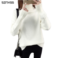 2017 New Winter Women Cashmere Pullover Sweaters Loose Turtleneck Jumper Female Knitted Sweaters Blusas De Inverno