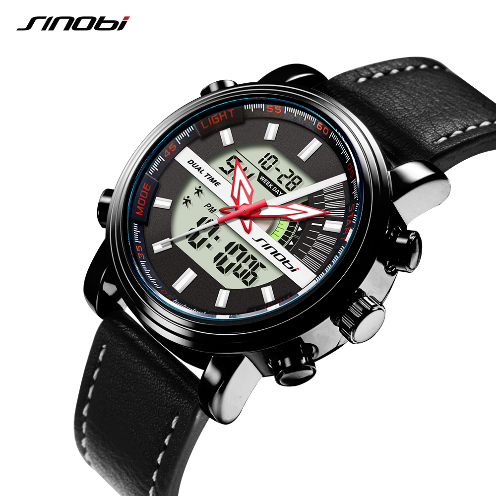SINOBI Wristwatch Clock Chronograph Digital Geneva-Time Waterproof Sports Quartz Double-Display