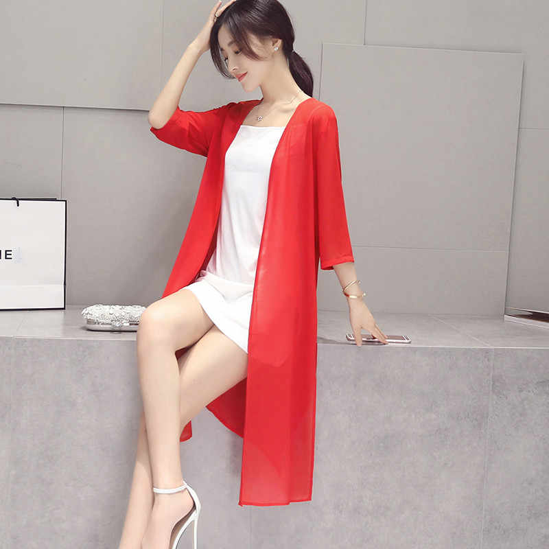 Summer Women Three Quarter Sleeve Long Chiffon Cardigan Candy Color Casual Sunshade Blouse Fashion Slim Plus Size 6XL/7XL Loose