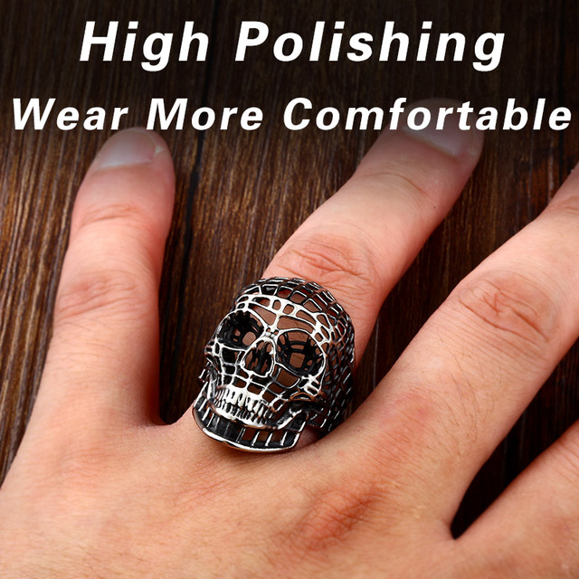 STAINLESS STEEL HOLLOW SKULL RINGS