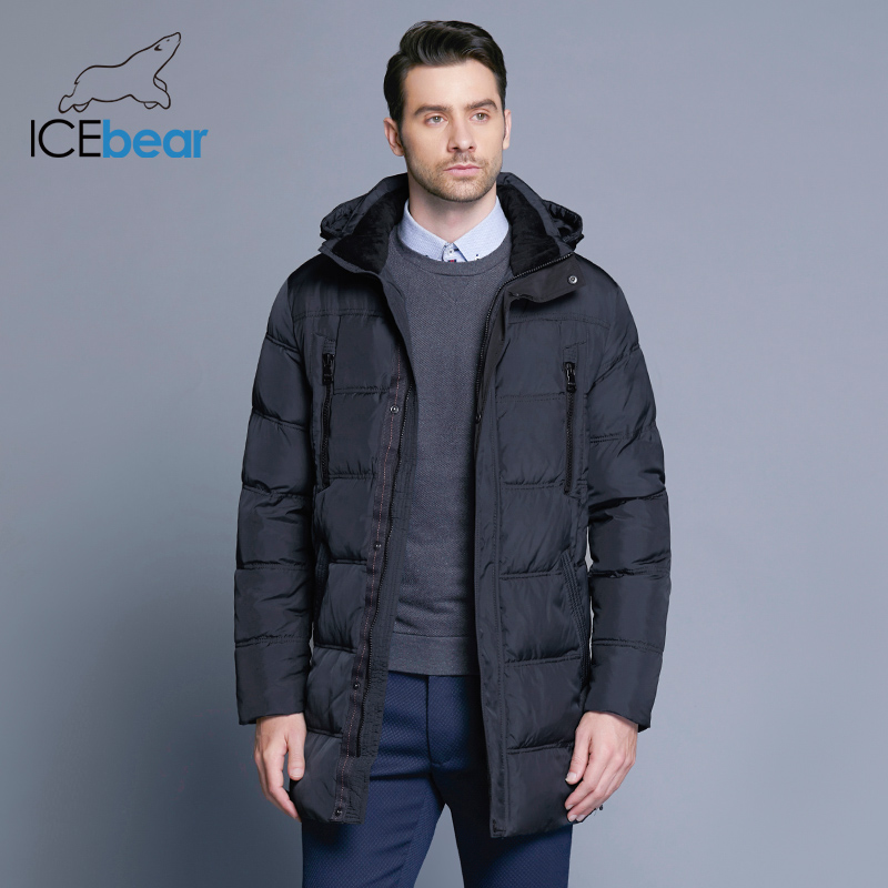 ICEbear 2018 Top Quality Warm Men's Warm Winter Jacket  Windproof  Casual Outerwear Thick Medium Long Coat Men Parka 16M899D(China)