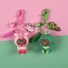 New Cartoon Brown Bear Keychain Cute Dinosaur Frog Pig Brown Bear Doll Keyrings Kids Toy Key Chain for Women Gift printio bear dangerous brown